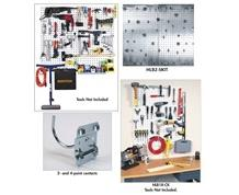 LOCBOARD® STEEL PEGBOARD WITH SQUARE HOLES AND LOCHOOK® LOCKING HOOKS FOR LOCBOARD®